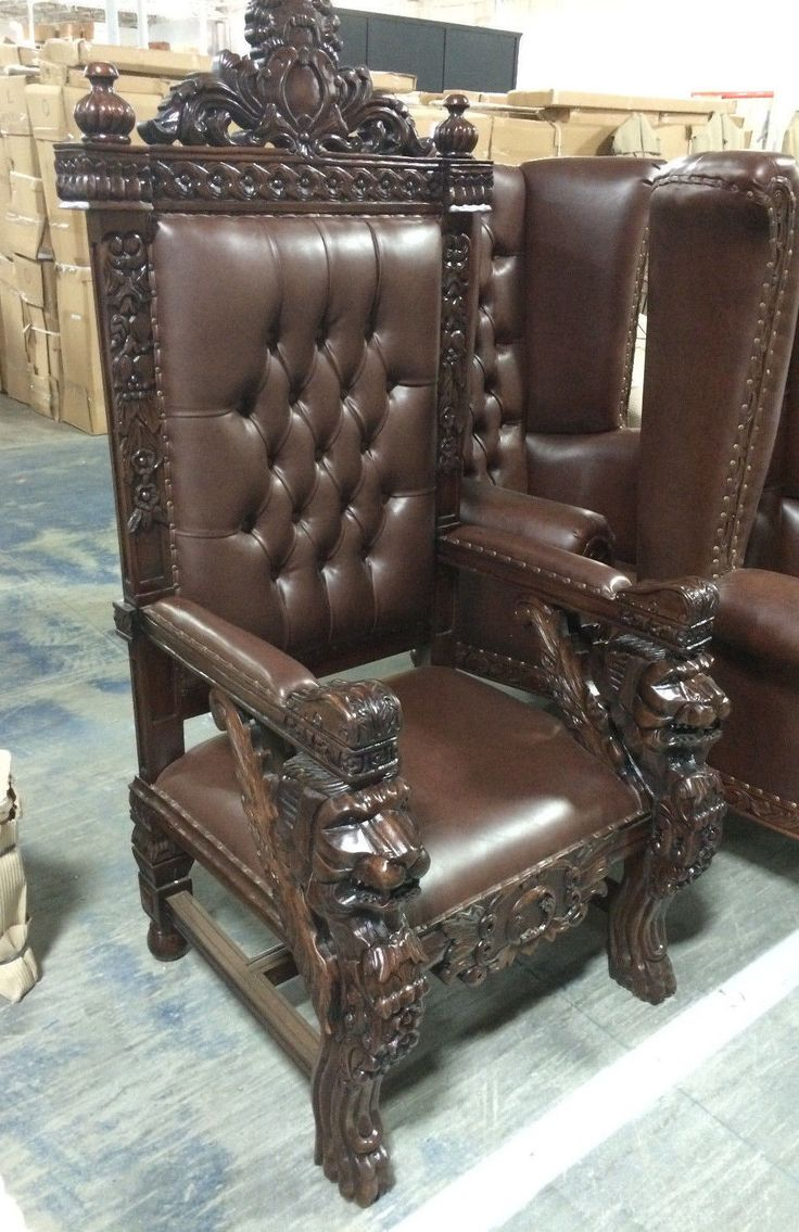 carved mahogany king winged lion gothic throne chair brown finish u0026 brown vinyl