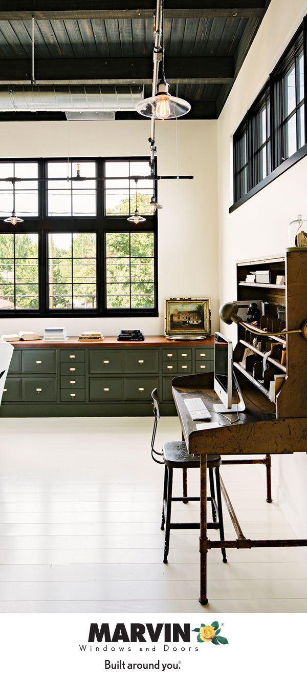 Let Your Lifestyle Inspire Your Work Style Craft Your Dream Home Office With Marvin Windows Personalized To Your Tast Industrial Home Offices Home Loft Living