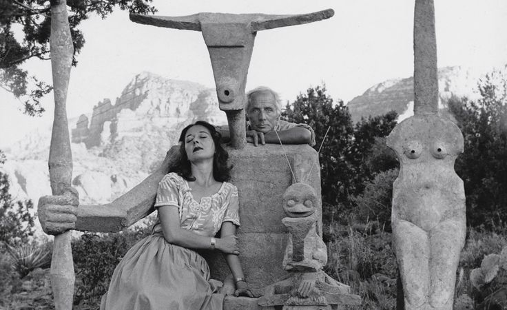 Dorothea Tanning and Max Ernst - with the cement sculpture Capricorn (detail), Sedona, Arizona, 1948 © 2013, ProLitteris, Zurich