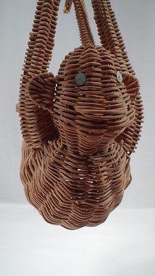 Rare Vintage Mid Century Modern Wicker Rattan Hanging Monkey Open Purse Basket