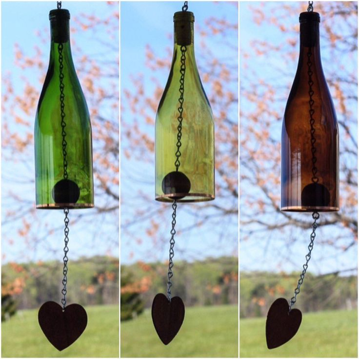 amazing Colored Wine Bottle Wind Chime Never before has the beauty of sight and sound complimented each other so perfectly. These Wine Bottle Wind Chimes are the perfect addition to any bac...