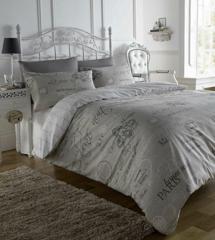 Script Paris Chic French Text Single Duvet Cover Quilt