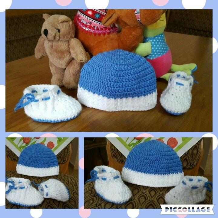 Caciula si botosei crosetati, crochet hat and shoes