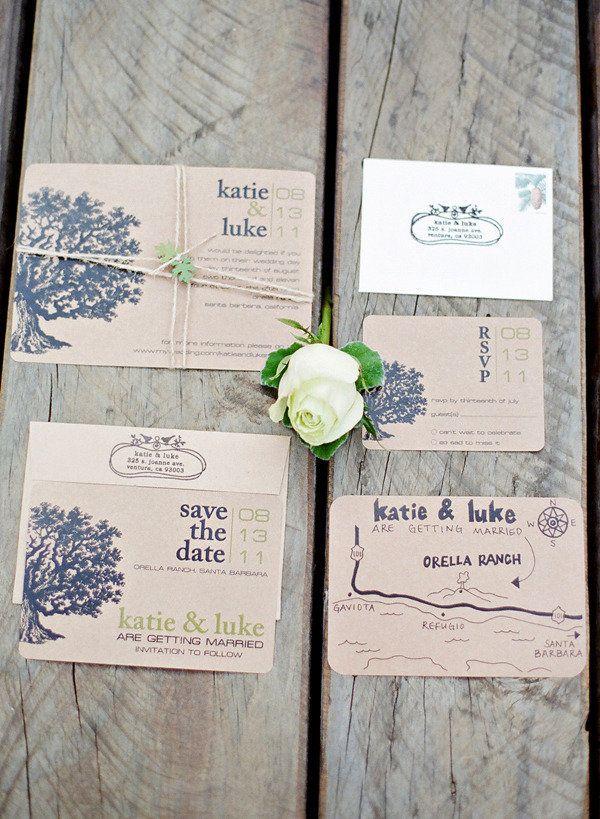 Rustic wedding invitation - like idea of having an oak tree but different style
