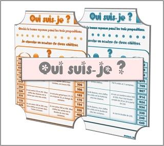 CE1 : jeu de nombres à 3 chiffres, devinettes. * Il y a aussi à 2 chiffres et 4 chiffres de disponible.