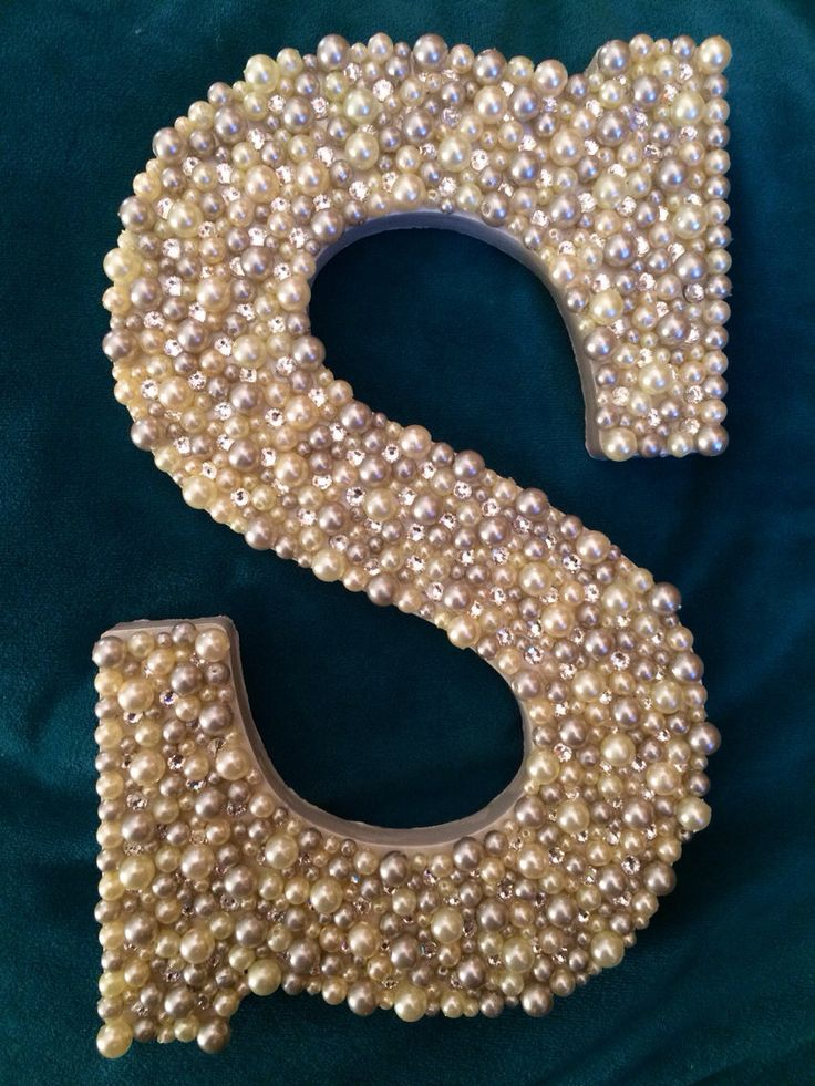 Wooden letter S with white and gray pearls by ScarlettsPlace