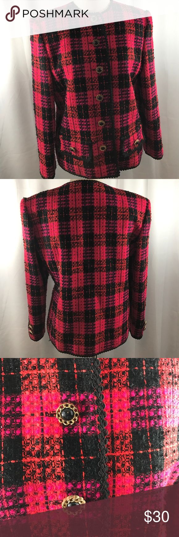 Plaid Blazer Stylish plaid blazer. Has cute buttons with two decorative front pockets.  Braided edged trim detail.  Blazer is pink, red and black. Morgan Miller Jackets & Coats Blazers
