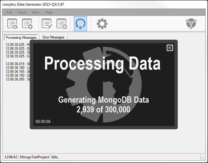 Lionytics data generator -  Processing screen