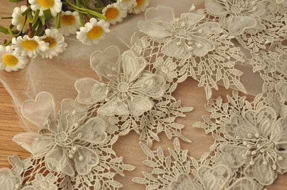 3D kant Trim in zilver voor Bridals, hoofdbanden, haar bloemen, DIY bruiloft