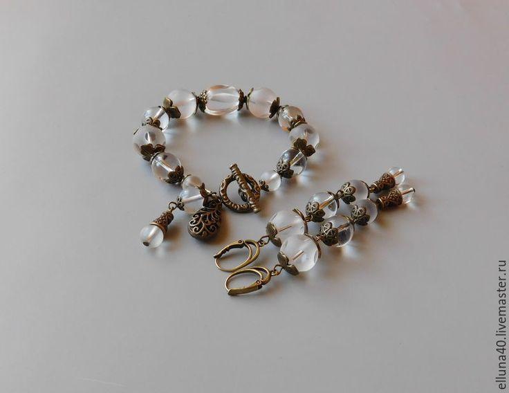 Купить Браслет и серьги из горного хрусталя - белый, горный хрусталь, браслет, браслет из камней
