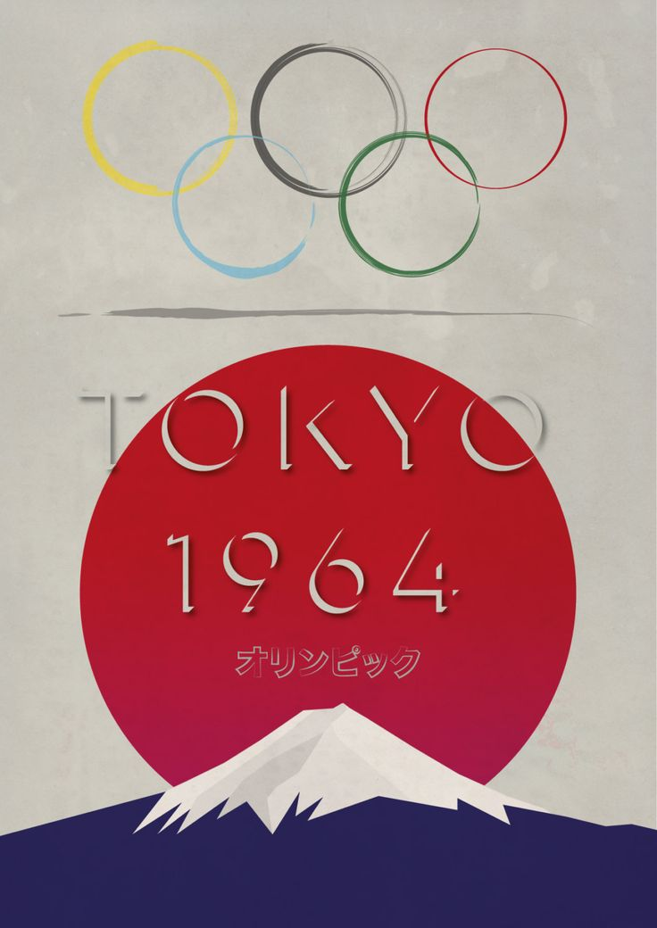 Tokyo Olympics 1964 - Retro Styled Poster - Vintage look - Mount Fuji…
