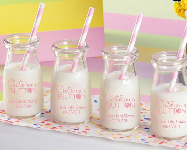 """PERSONALIZED """"CUTE AS A BUTTON"""" PRINTED MILK JAR (SET OF 12)"""