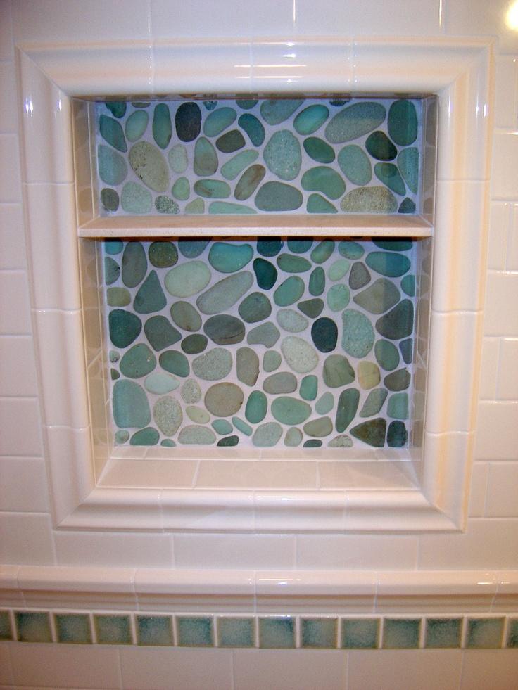 Soap Niche With River Rock Sheet Tile Dal 3 X6 D100