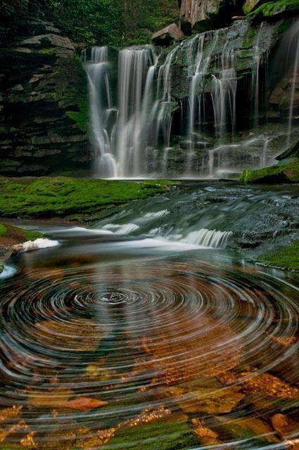 ˚The water spirals of Elakala Waterfalls - Black Water Falls State Park, West Virginia
