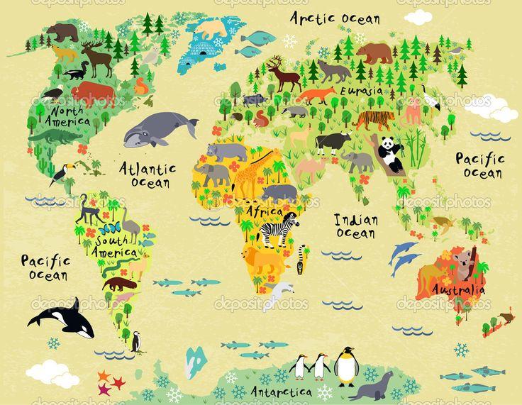 мультфильм животных карта мира для детей и малышей - Векторная картинка: 51019611