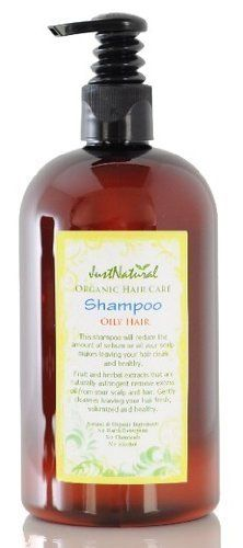 Natural Oily Hair Shampoo by JustNatural Organic Care. $22.99. Oily hair can be a real problem. In the morning is can be clean and fresh but by the evening it is greasy limp and lifeless. The reason for oily hair is the excessive secretion of sebum or oil on the scalp. To have hair that is not oily, you need to make your scalp less oily by reducing or normalizing its oil production. This natural shampoo for oily hair will reduce the amount of sebum or oil your scalp makes...