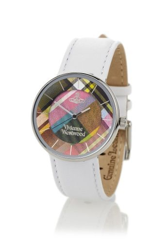 Brighten up your attire with Vivienne Westwood's Tartan Watch. Crafted with a white soft leather strap, the round face of this piece comes with marked indexes. Finished with a vibrant Mac Bruce tartan face, the three hand, Swiss movement watch is beautifully packaged in a Vivienne Westwood gift box. Please note that this watch has a two year guarantee.