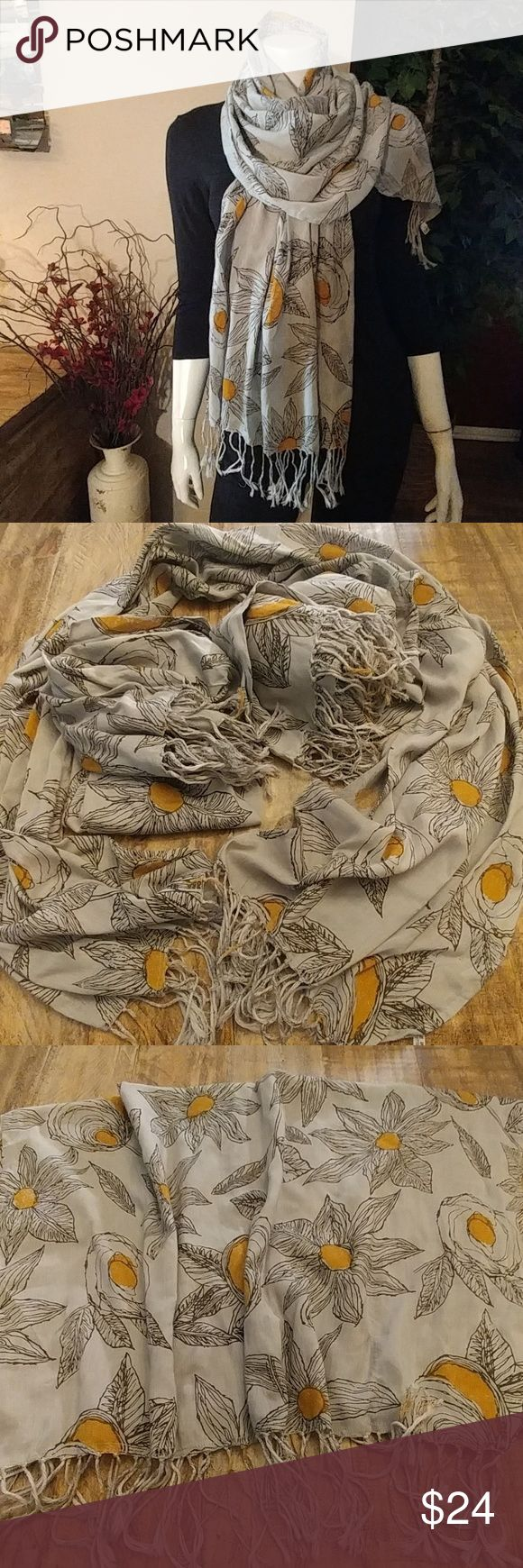 """🌻Sunflower🌻Thai Printed Cotton Scarf Do sunflowers make you happy??🌻☺🌻☺. Then this is the scarf for you!! Gray. 100% cotton. Measures 62"""" L × 28"""" W with a 3"""" fringe on each end. Only 3 available Thai Accessories Scarves & Wraps"""