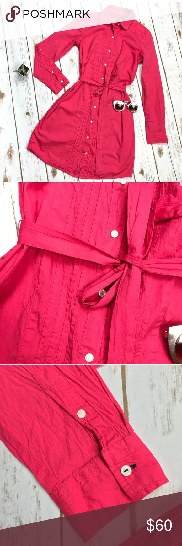 Tommy Hilfiger Belted Stretchy Shirt Dress NWOT New Tommy Hilfiger stretch shirt dress with tie belt at waist. Coral color. Pleated design in front. Point collar. Rounded hem. Front button closure. Sleeves can roll up or leave down. 99% cotton, 1% elastane. After I bought it, I noticed a small hole in back, so I put a cute butterfly patch on it which adds a little color flare. Tommy Hilfiger Dresses