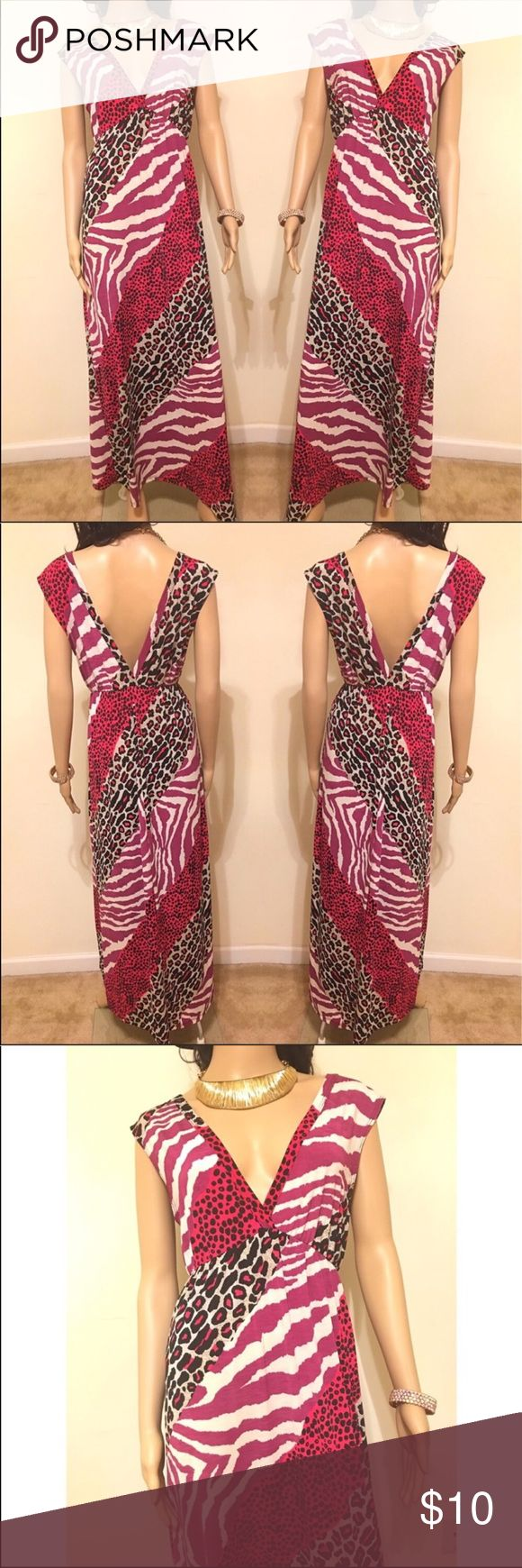 ✨Pink Animal Print Maxi Dress Beautiful animal print deep v maxi dress. ing Dresses Maxi