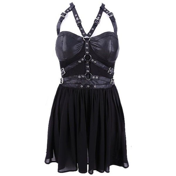 Harness Black Gothic Dress by Restyle (115 AUD) ❤ liked on Polyvore featuring dresses, black dress, black goth dress, kohl dresses, gothic clothing dresses and black day dress