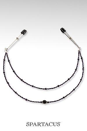 Collier de Seins Perles Pourpres avec 2 Rangées pour Travesti