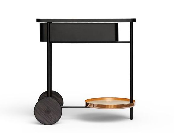 Classiest bar cart ever. Black and copper magic. Even better once it's piled up with cocktail ingredients!