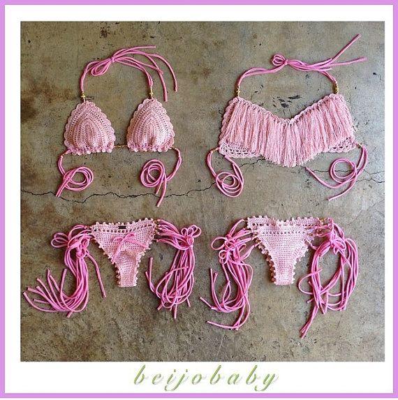pretty in pink fringe bikini por beijobaby en Etsy, $160.00