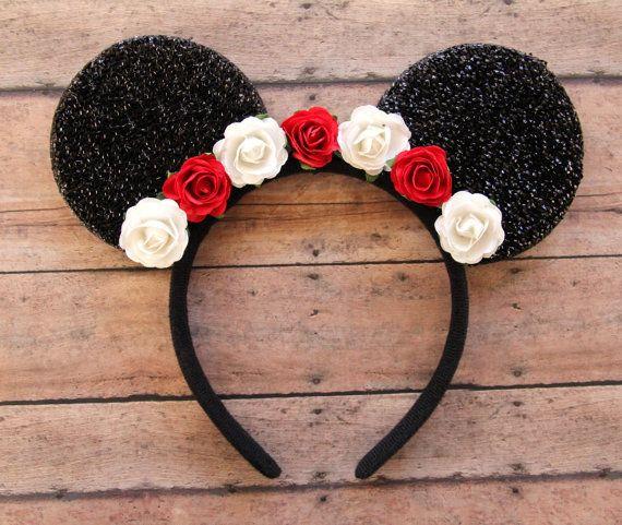 Flores Mickey orejas orejas de Mickey Floral Navidad Mickey