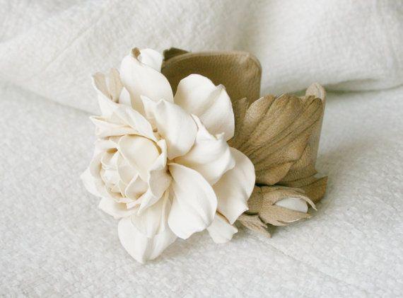 Ivory/beige leather rose flower bracelet - Made to Order