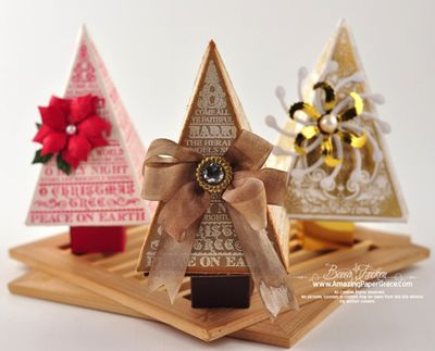 Christmas Tree Favor Boxes w/ video tutorial link ....    #Christmas  #Tree  #Forest  #ChristmasTree