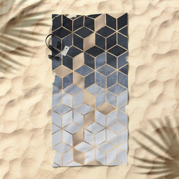 Soft Blue Gradient Cubes Beach Towel
