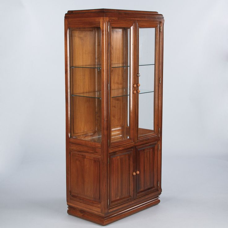 French art deco walnut vitrine display cabinet ref find this pin and