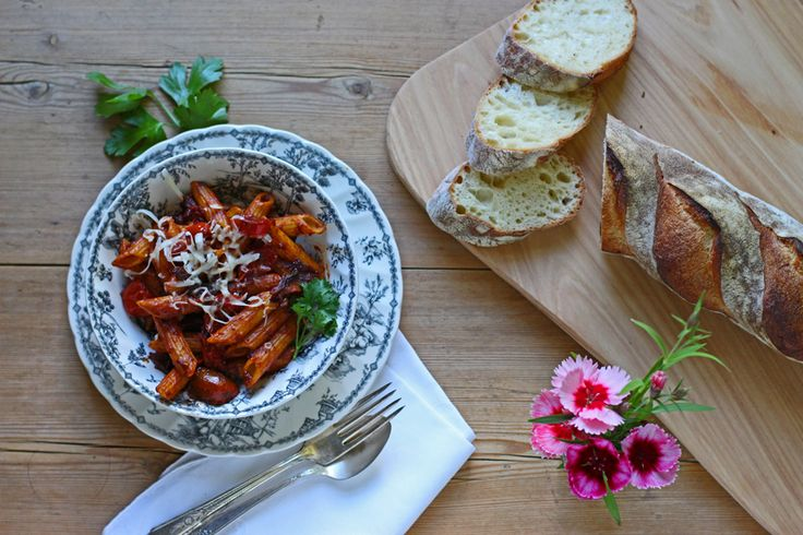 Pecorino Cheese From Dancing Ewe Farm Featuring Penne all Amatriciana