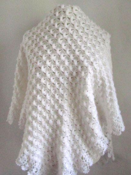 White shawl // Crochet shawl // bridal shawl // by ScarfsSale