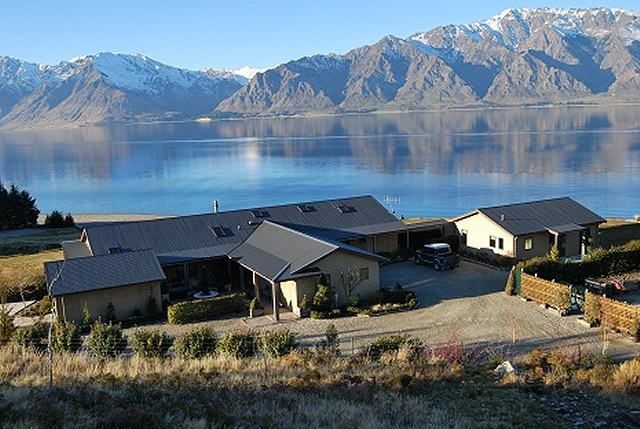 The Homestead at Glen Dene Station, Lake Hawea in the background