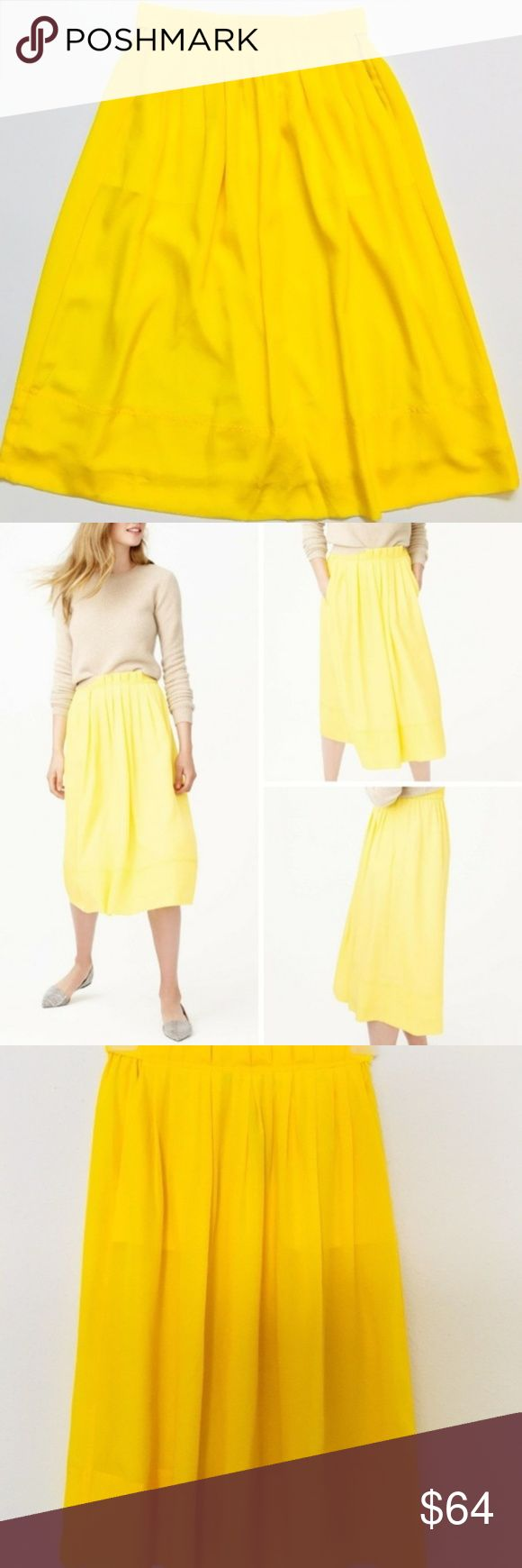 """NWT J Crew Pleated midi skirt, Yellow Lemon Size 2 NWT J Crew Pleated midi skirt, Yellow Lemon Size 2  beautiful sophisticated sheath dress with lace inset.  Featured with 2 side pockets.   Brand: J. Crew  Size: 2  Material: 100% Polyester  Color: Lemon  length: Midi-Calf  Condition: New with Tags  Garment Care: Machine Wash  Approximate Flat Measurements: Waist: ~ 13"""" Length: ~ 28.75"""" J. Crew Skirts Midi"""