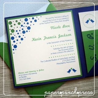 "horizon blue and clover green wedding | ... lovebirds motif in this ""night"" navy blue and ""clover"" green ensemble"
