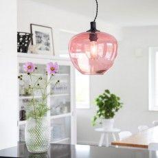 Glass pendant lamp in light pink with black details - Bellissimo / Sessak