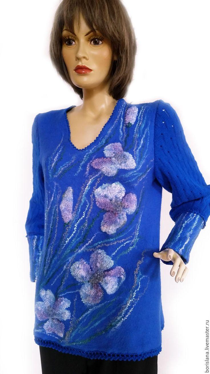 """Купить Туника валяная """"Анемоны"""" - синий, цветочный, туника валяная, валяная…"""