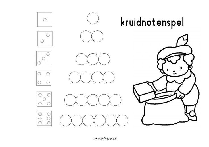 Het pepernoten/kruidnoten piramide spel. Ieder kind legt de kruidnoten/pepernoten op de cirkels neer. (print het pdf-bestand uit en vergroot dit naar a3) Ieder kind heeft dus 21 kruidnoten/pepernoten nodig bij dit spel. Om de beurt wordt er gegooid met de dobbelsteen. Gooi je drie, dan mag je het rijtje van drie in een bakje bewaren…. Is de rij al opgegeten, dan moet je een beurt overslaan (of mag je die bij één van je linkerburen afpakken!) www.juf-joyce.nl