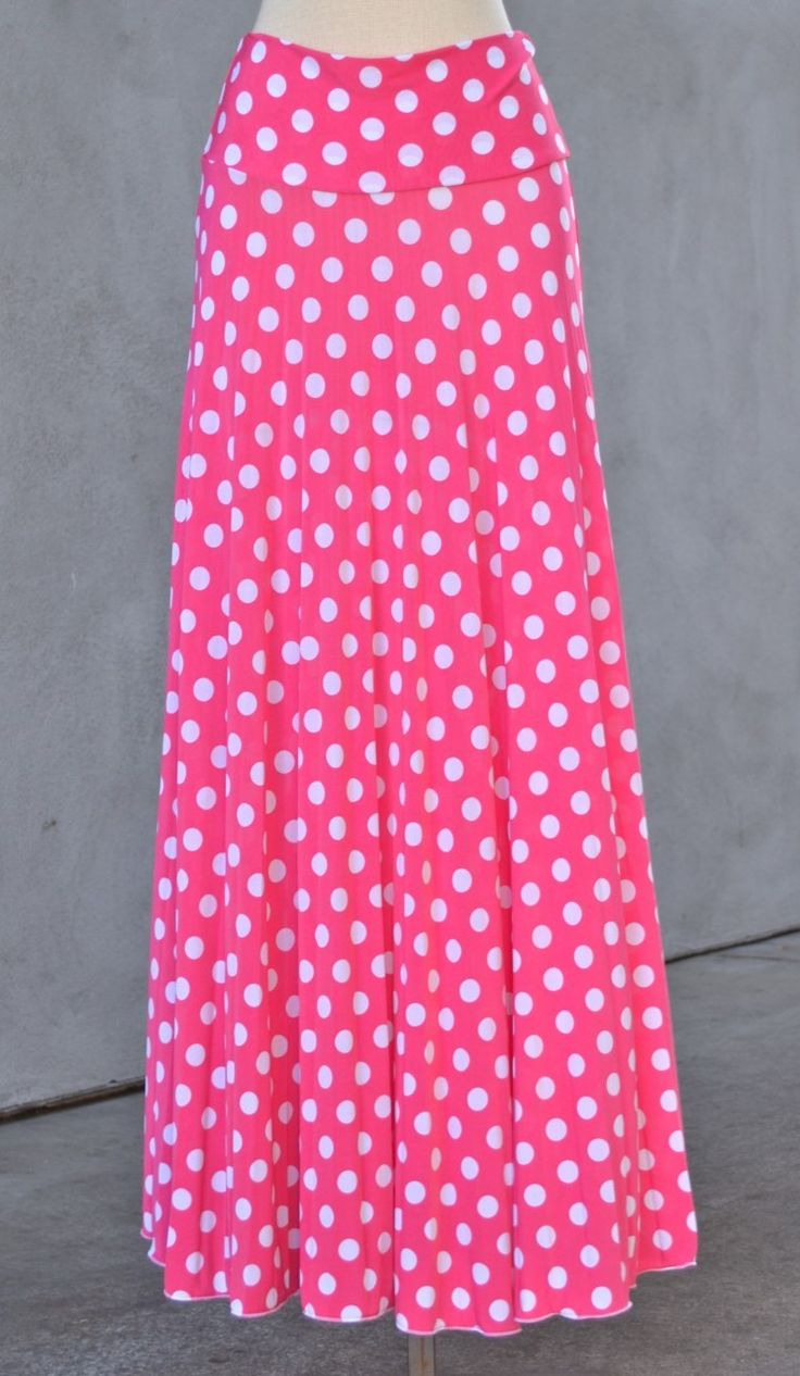 Hayaa Clothing - Polka Dot Long Maxi Skirt Foldable Banded Waist - PINK, (http://www.hayaaclothing.com/polka-dot-long-maxi-skirt-foldable-banded-waist-pink/)