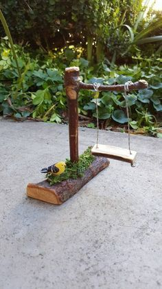 """Whimsical Fairy Swing Fairy Garden Accessories Miniature Garden Accessories Oak Twig Miniatures for Fairy Gardens 3.5""""L x 4.5""""H x 1"""