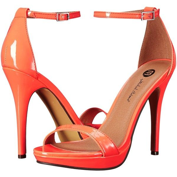 Michael Antonio Lovina Patent (Hot Peach) High Heels (1.705 RUB) ❤ liked on Polyvore featuring shoes, sandals, orange, ankle strap shoes, sexy high heel shoes, ankle strap sandals, patent leather sandals and ankle wrap sandals