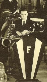 """Billy Fisher playing sax in the dance band of his brother, Winfield Scott Hancock Fisher, Jr.  """"Scott Fisher and his Orchestra,"""" aka """"Bud Fi..."""