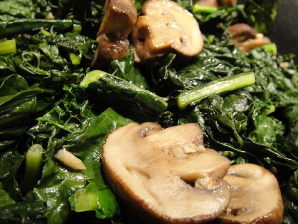 Garlicky #Mushrooms and #kale.  Apparently kale is a superfood and full of nutrients, so I figured we could give it a shot.