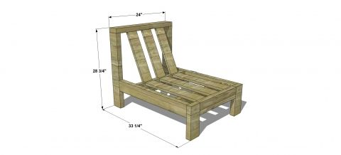 Dimensions for Free DIY Furniture Plans // How to Build an Armless Chair for the Reef Outdoor Sectional Sofa
