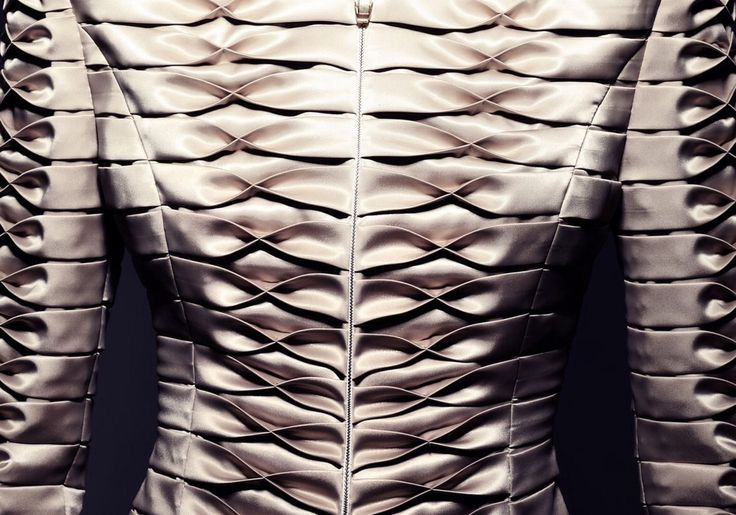 [cropped] Elegant Fabric Manipulation for Fashion - beautifully balanced tuck & fold variation used to create structured pattern & texture detail // Giorgia Fonyodi*