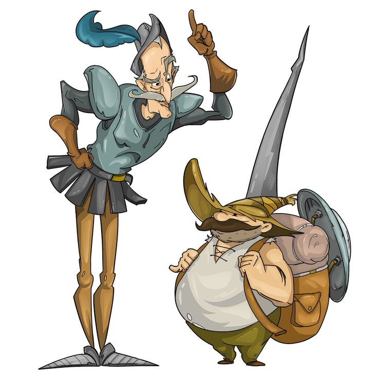 We really like the characters from Don Quixote, and we always wanted to do our own  version, a happier one, more cartoony. This is what we came with. #donquixote #sancho #cartoons #flamalamastudio
