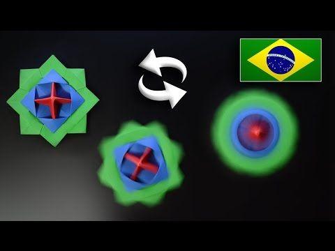 Origami: Brinquedo que Gira / Beyblade / Pião - Instruções em Português PT-BR…